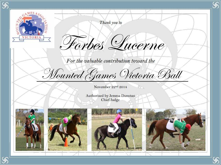 Mounted Games Victoria - Forbes Lucerne Certificate
